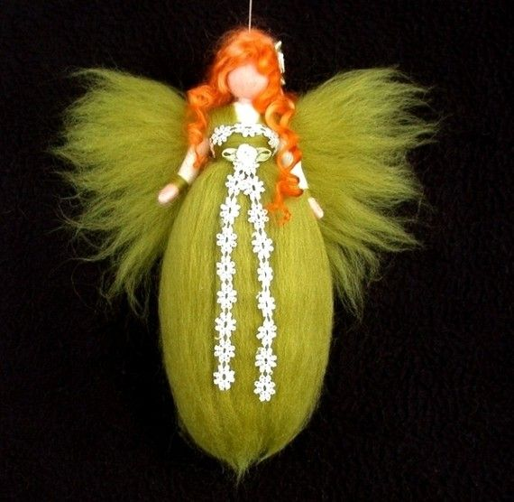 Needle Felted Wool Fairy Green Doll  Red Hair Angel Faeries Soft Sculpture Waldorf Inspired