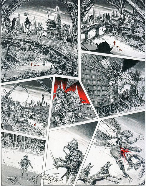 Artwork from The City graphic novel, illustrations by Ian Miller