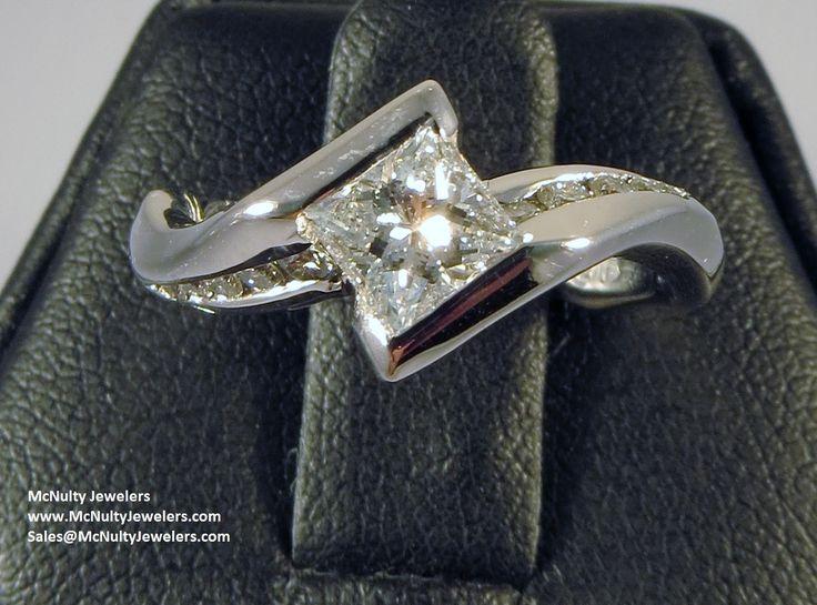 Kite Set Princess Cut Diamond Center With Round Channel