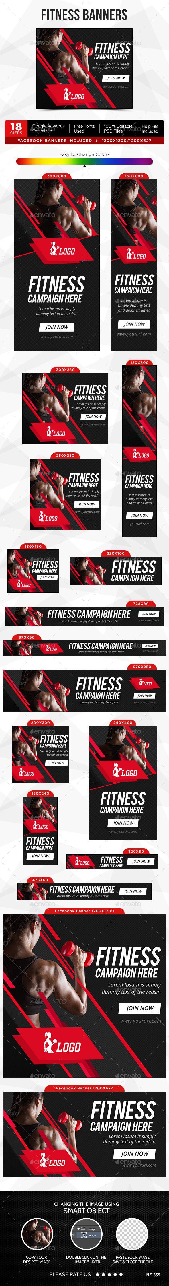 Fitness Banners Template #design #ads #web Download: http://graphicriver.net/item/fitness-banners/12473331?ref=ksioks