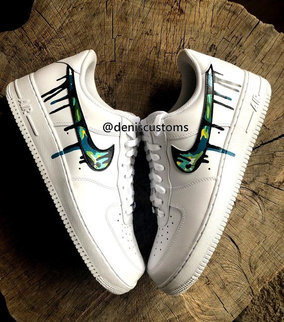 Nike Air Force 1 Low with Color Camo and Black Drip Design