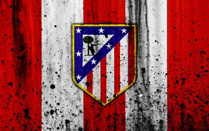 Download wallpapers Atletico Madrid, 4k, grunge, La Liga, stone texture, soccer, football club, LaLiga, Atletico Madrid FC