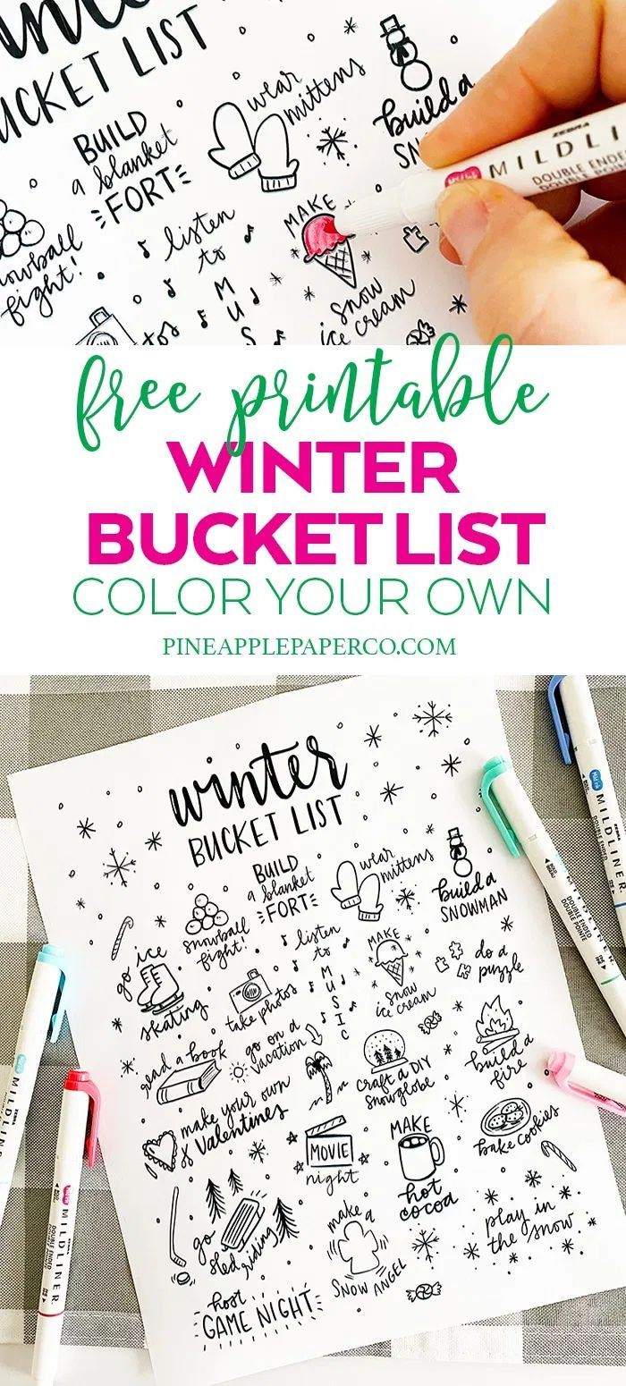 Printable Winter Bucket List Coloring Page Winter Printables Free Winter Bucket List Party Printables Free