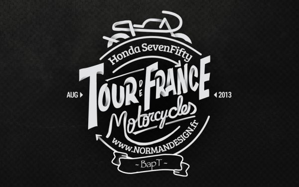 New test of a logo for my « Tour de France moto » project. The bike is at home, an old Honda Cb750 Bold d'or of 1981… older than me..  Now I need to finalize the customization into a Cafe Racer Mod and check if everything is allright to take the road in August… The logo is maybe too complex..and will be simplified for the Helmet. Logo on one side.. My number 7 on the other one… But I think I'm getting close…