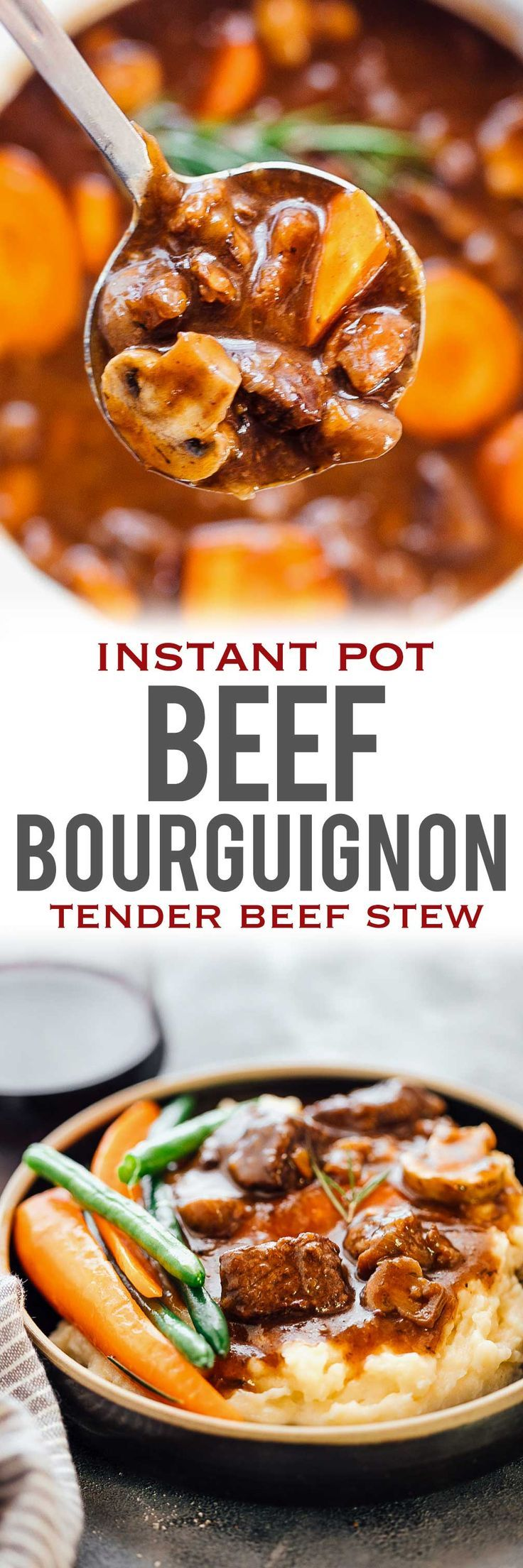 This INSTANT POT BEEF BOURGUIGNON has all the right flavours is inspired by Julia Child's beef stew with red wine and has tender, fall apart beef chunks. This is a french recipe that's easy, and tastes best with sides like mashed potatoes, roasted potatoes and beans. Use the Instant Pot to cut down the cooking time by half, but keep all the flavours intact. via @my_foodstory