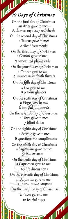 Aries: 12 days of Christmas Zodiac.... Here's the full set of lyrics! Dare you all to sing this in public!