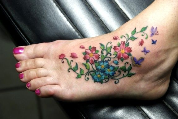 Flower Tattoos On Foot | Forbidden Images Tattoo Art Studio : Tattoos : Coverup : Cherry Foot !