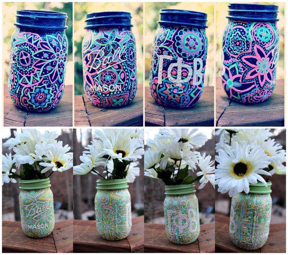 Personalized Hand Painted Sorority Mason Jar by MegsZShop on Etsy