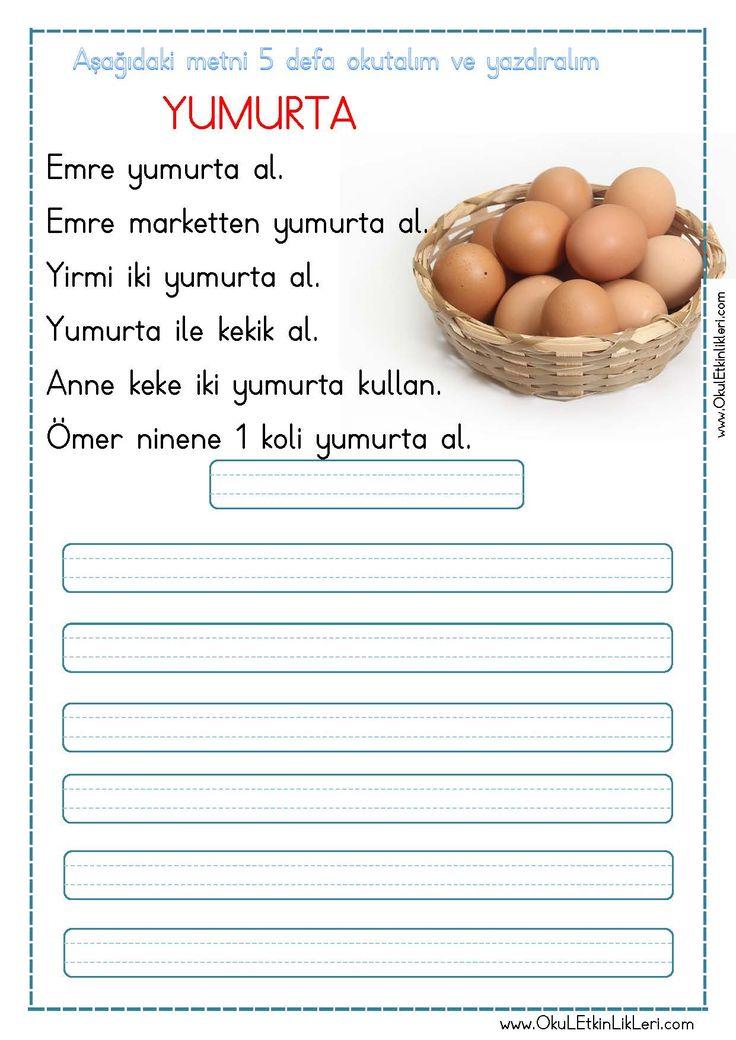 """""""Yumurta"""" Okuma ve Yazma Metni sizler için özgün olarak hazırlanmıştır. Dosya İndir kısmından kolayca indirebilirsiniz. Tüm çalışmalarımızı kendi emeklerimizle özgün olarak hazırlıyoruz bu yüzden; Sitemizde.."""