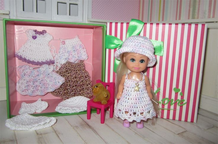 Coffret cadeau mini poupée et son trousseau de vêtements au crochet : Jeux, jouets par atelier-crochet
