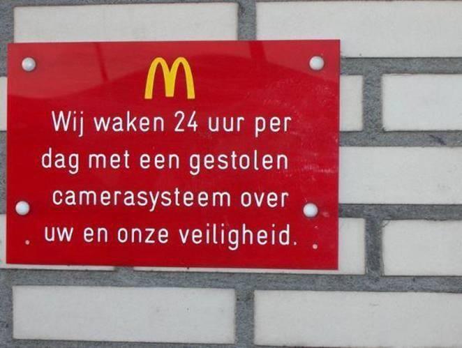 McDonald's werkt met gestolen goederen…