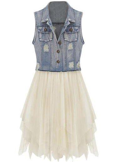 dresses vine denim dress with contrast mesh skirt