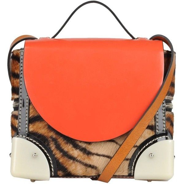 KENZO Small leather bag (21 040 UAH) ❤ liked on Polyvore featuring bags, handbags, shoulder bags, purses, bolsos, kenzo, leather shoulder handbags, orange leather handbag, orange purse and orange leather purse