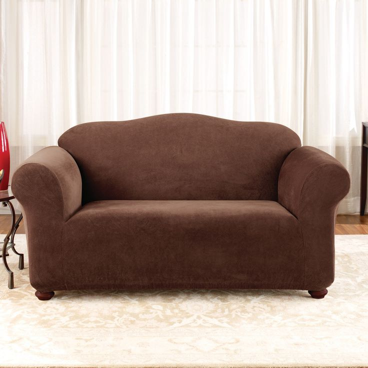 sure fit stretch pique loveseat slipcover brown