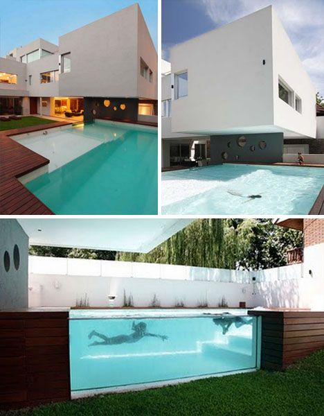 wood patio with above ground swimming pool by andres remy architects