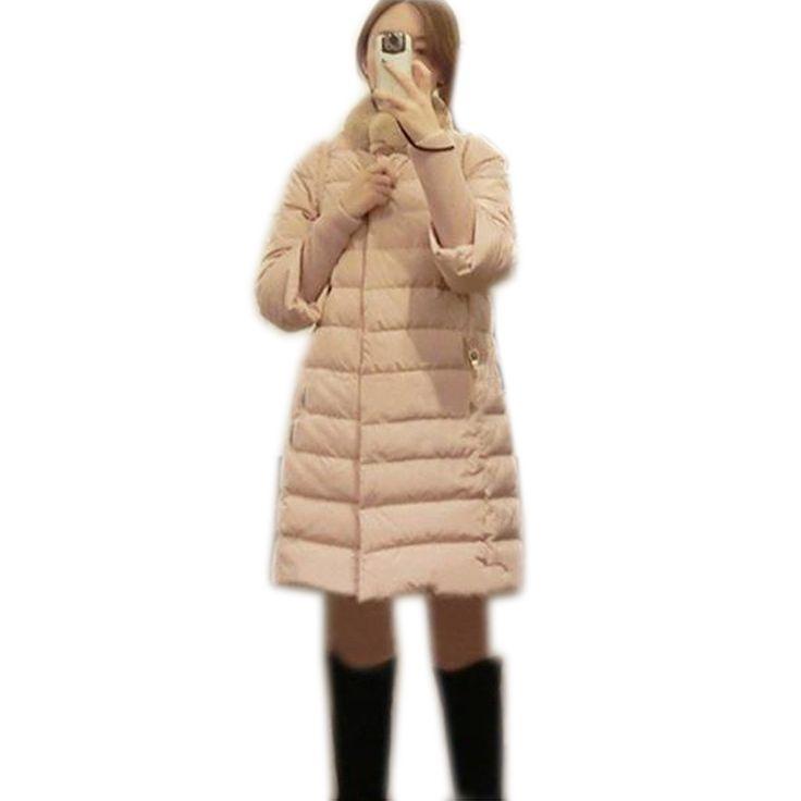 Новый 2015 женская пуховая куртка зимняя мода 2015 Девушки дополняется толще куртки длинный отрезок пальто Плюс Размер Пор верхняя одежда