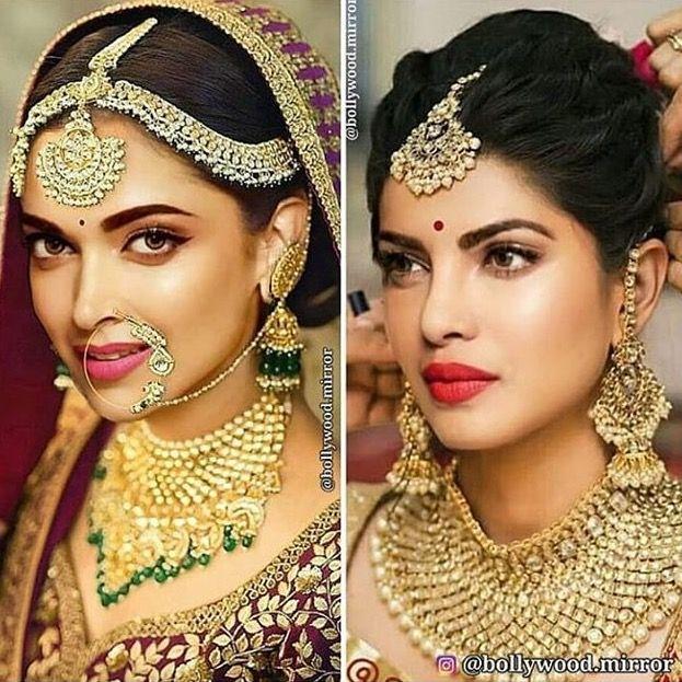 Deepika Padukone And Priyanka Chopra Indian Bridal Makeup Bridal Jewellery Indian Wedding Makeup Looks