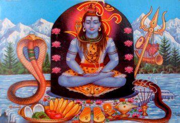 Shiva méditant, entouré de tous ses attributs.