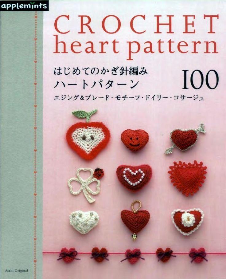 Asahi original crochet heart pattern  Crocheted hearts: edgings, appliques, Irish lace, flowers #Japanese #crochet #book
