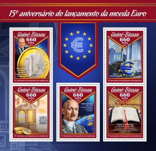 GB17003a 15th anniversary of launch of Euro currency (Yves-Thibault de Silguy presents a reproduction of a euro coin; European Central Bank; Robert Schuman (1886–1963), one of the founding fathers of European unity; Maastricht Treaty, 7 February 1992, it created the EU and led to the creation of the single European currency, the euro)