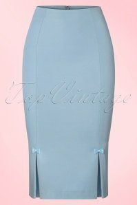 Dancing Days by Banned Baby Blue Pencil Skirt with Bows