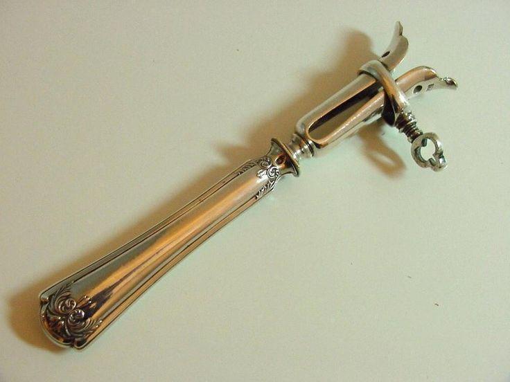 antique leg bone holder, manche à gigot, with silver handle