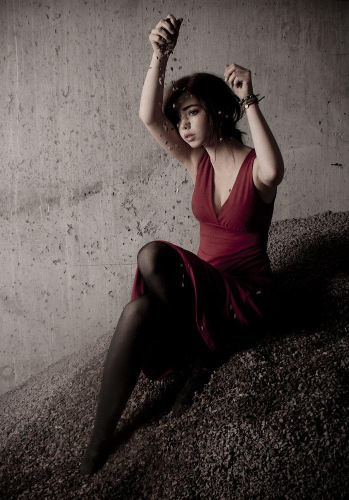 Model in the gravel