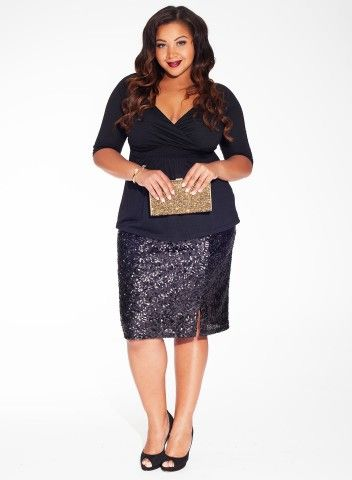 Sloane Sequin Skirt in Noir Glam