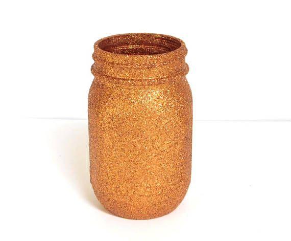 Copper Glittered Pint Mason Jar Flower Vase Pen and Pencil