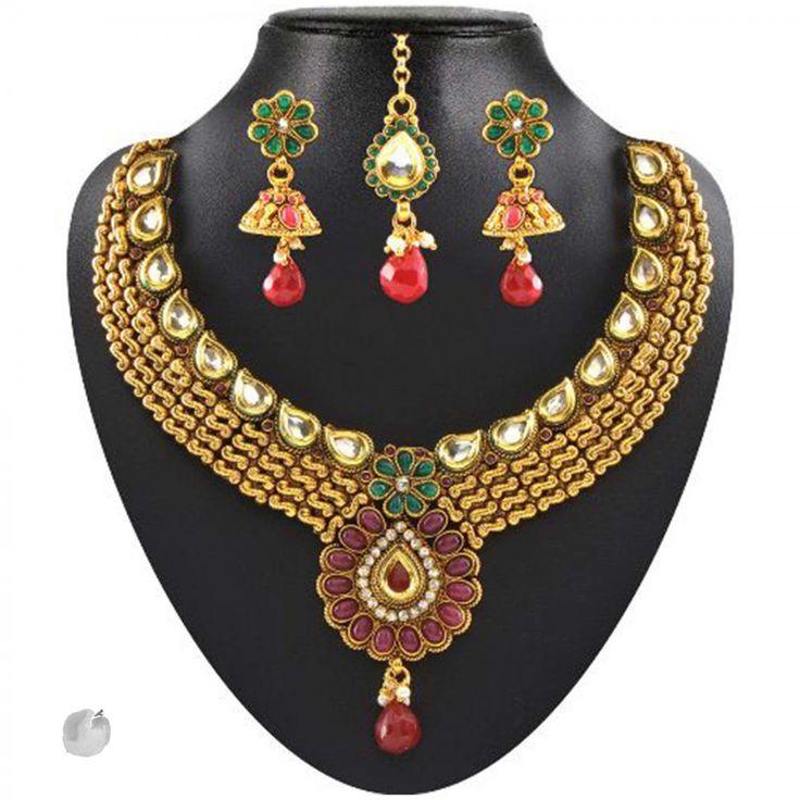 Kundan Red & Green Pota & Austrian Stone Drop Gold Finish Necklace Sets With Maang Tikka