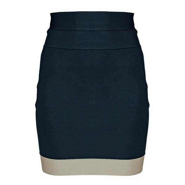 Black Fig Skirt (335 RON) ❤ liked on Polyvore featuring skirts, mini skirts, saias, bottoms, юбки, faldas, women, knee length skirts, high-waist skirt and herve leger skirt