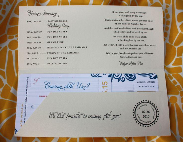 Red, Blue & Yellow Swirls Cruise Ticket Wedding Invitations