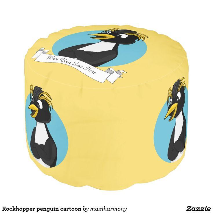 Rockhopper penguin cartoon round pouf