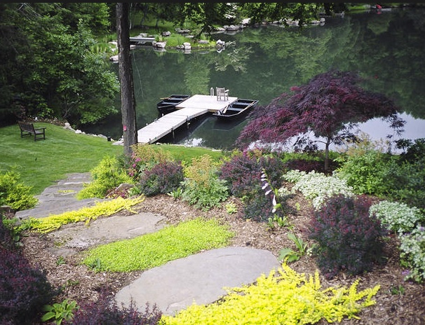 82 best images about hillside stone steps on pinterest for Open yard landscaping ideas