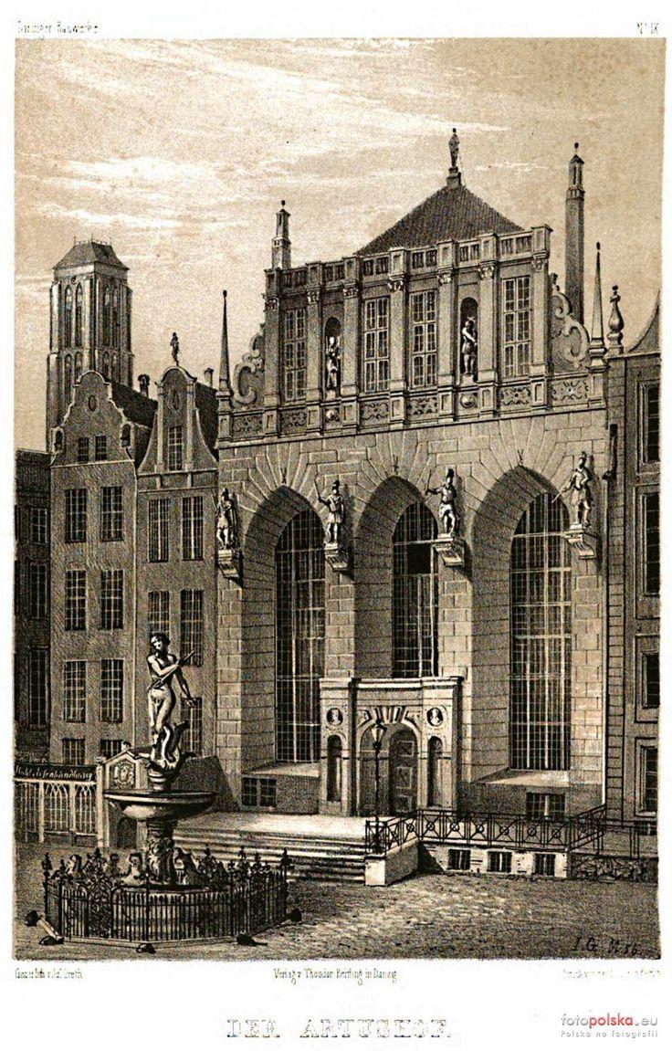 Dwór Artusa - Muzeum Historyczne Miasta Gdańska (Artushof), Gdańsk - 1856 rok, stare zdjęcia