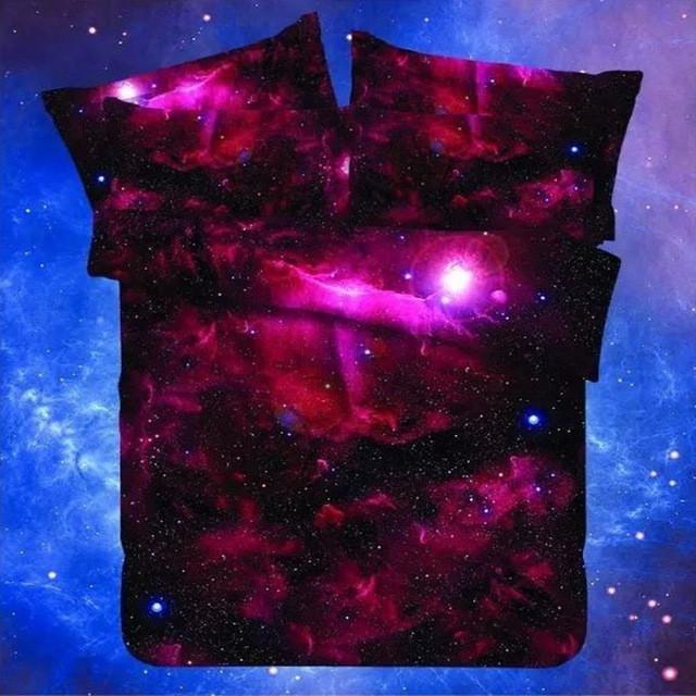 Galaxy Print Bed linen Duvet Cover Flast Sheet & Pillow Case