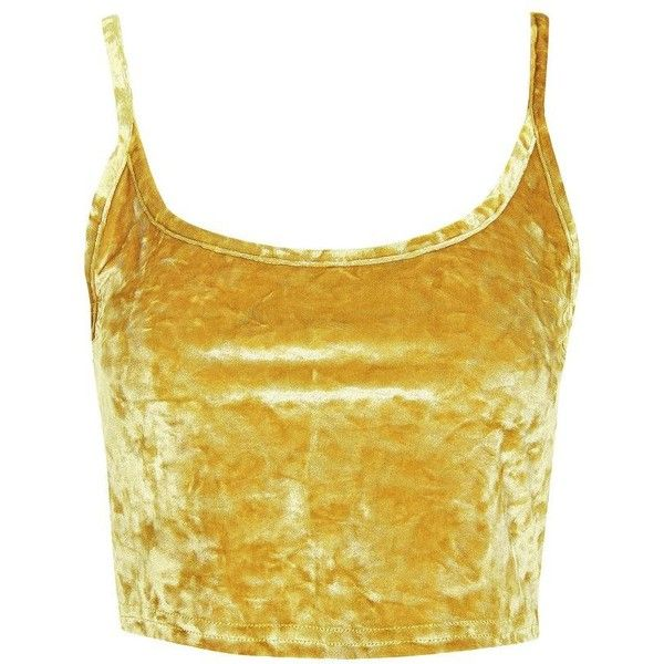 TopShop Petite Crushed Velvet Camisole Top ($20) ❤ liked on Polyvore featuring tops, topshop, gold, cami top, topshop cami, camisole tops, petite tops and textured top