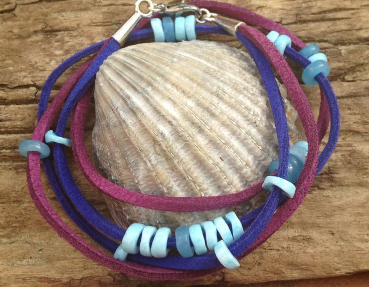 Purple and Royal Blue Double Wrap Leather Suede Hippie Handmade Bracelet with Glass Beads by EffyBuu on Etsy
