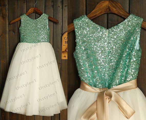 Mint blau Pailletten Elfenbein Tüll Blumenmädchen Kleid mit Champagner Schärpe Bow Hochzeit Kinder Ostern Brautjungfer Kommunion Taufe Kleid...