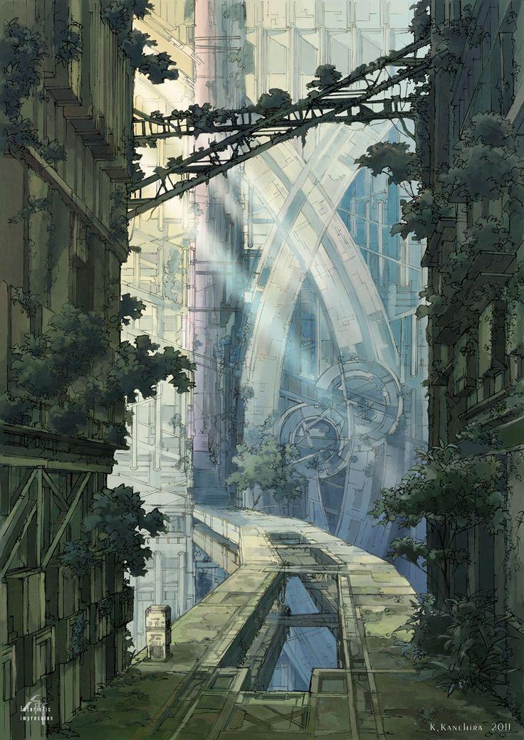 「遺跡橋」 2011年6月製作 イラスト集「西方道中見聞記」に収録したものです。 でっかい遺跡を縦断する街道の中間。人の気配のないひっそりとした場所です。