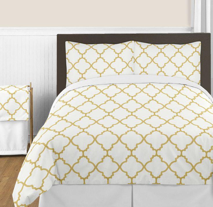 trellis white and gold bedding set sweet jojo designs