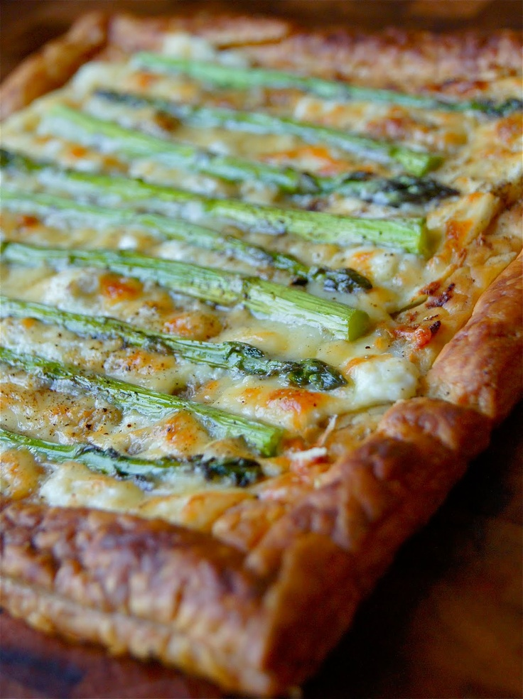 Asparagus Tart with Ricotta and Cheddar Cheese. Only 4 Ingredients plus Pepper & Salt to taste.