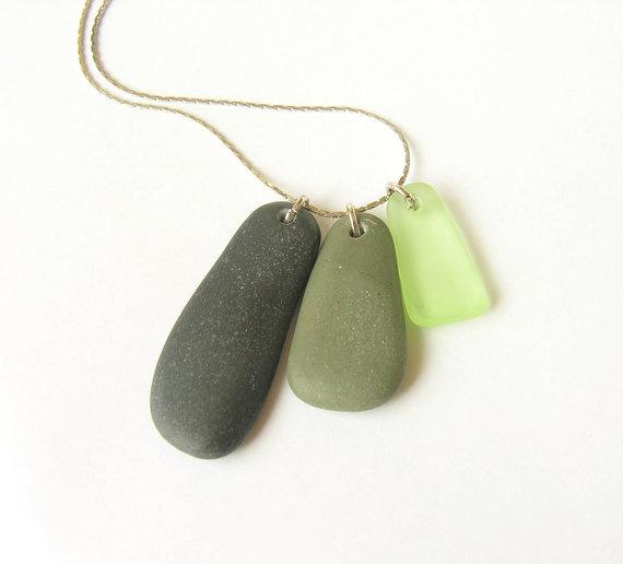 Beach jewelry stone sea glass triangle pendant,Natural mediterranean pebble, modern minimalist geometrical necklace, eco friendly, ooak