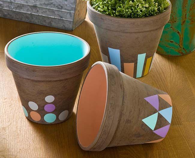 Fall pastel clay pots using FolkArt Stencils