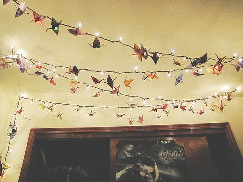Paper cranes and #fairylights canopy