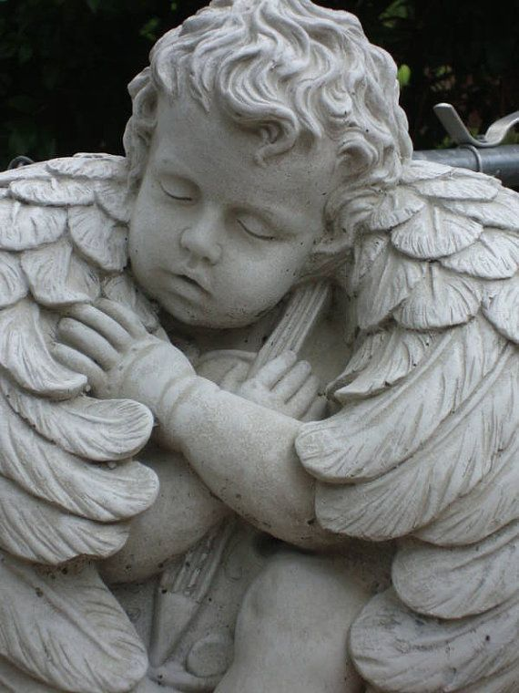 beautiful angel cherub concrete statue on stand by caststone