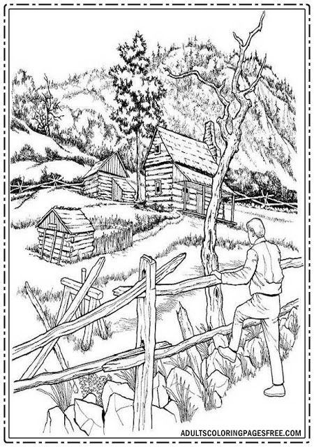 Countryside Atmosphere Adults Coloring Pages Free