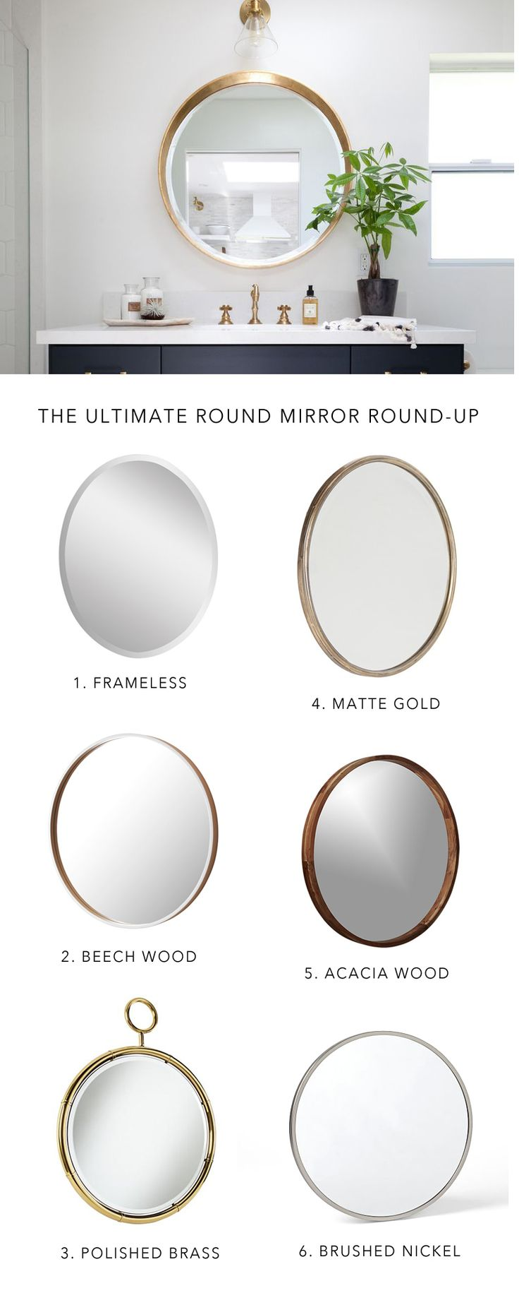instantly update your bathroom decor for 2016 with a round bathroom mirror    @citysage