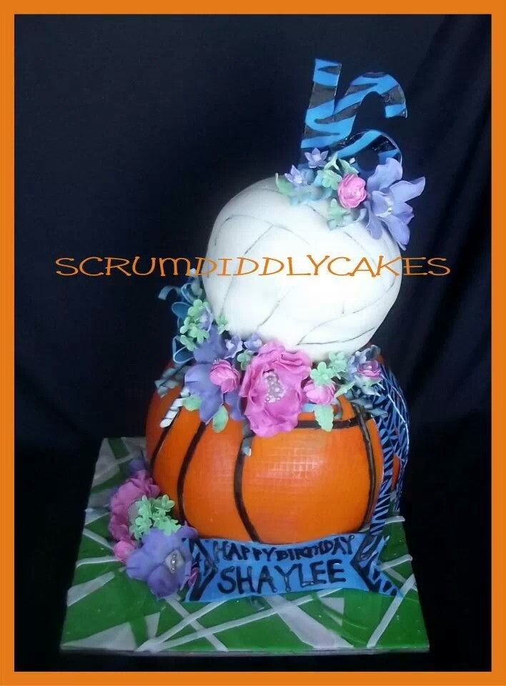 Girly Sports Fan Birthday Cake Volleyball Basketball