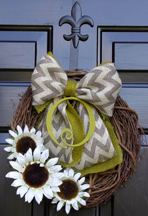Sunflower wreath  Monogram Wreath  Summer Wreath  by OurSentiments, $65.00